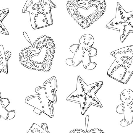 Seamless Christmas treats pattern. Christmas sweet festive food collection. Vector illustration for restaurant menu, flyer, recipe book and more. Banque d'images - 131444938