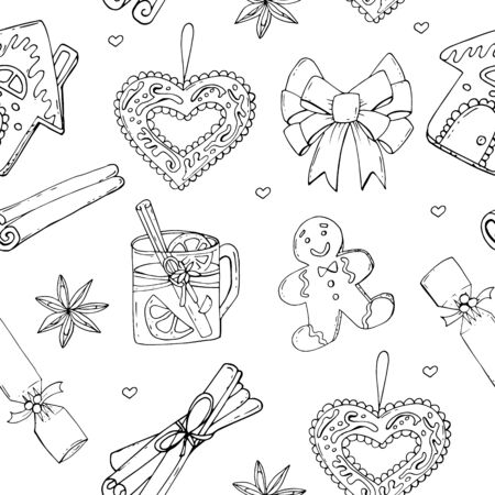 Seamless Christmas treats pattern. Christmas sweet festive food collection. Vector illustration for restaurant menu, flyer, recipe book and more.