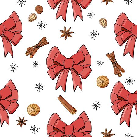 Seamless pattern with christmas bow and spicies. Endless texture for festive design, restaurant and cafe menu, decoration. Christmas food. Фото со стока - 131444940