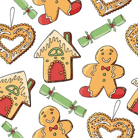 Seamless pattern with christmas pastry. Endless texture for festive design, restaurant and cafe menu, decoration. Christmas food.