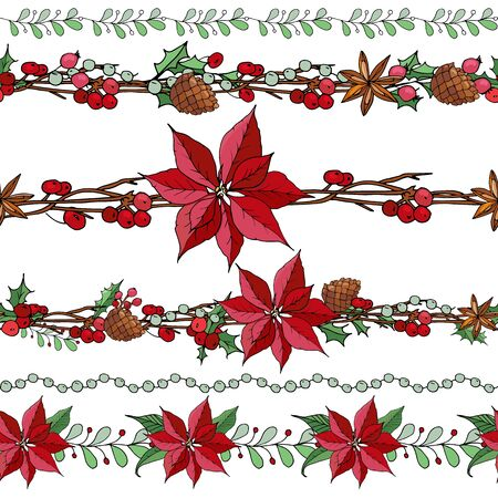 Big set with vintage Christmas decoration. Endless pattern brushes with poinsettia, branch and berries. Иллюстрация