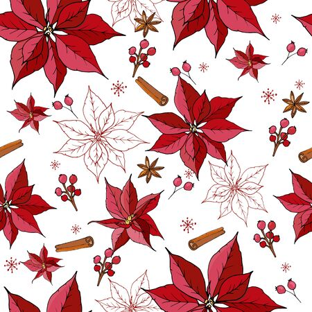 Christmas Winter Poinsettia Flowers Seamless Background. Hand drawn doodle style Floral Pattern Illustration