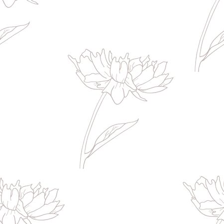 Pastel color peony flowers seamless pattern. Outline hand drawing vector illustration. Banque d'images - 135614164