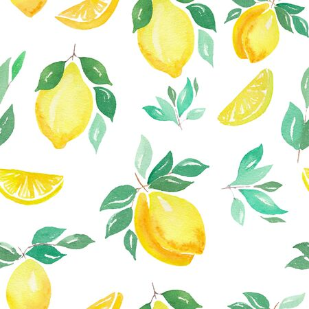 Watercolor lemons seamless pattern. Hand painted watercolor citrus. Фото со стока