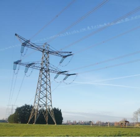 Electriciteitsmast in de polder Stock Photo