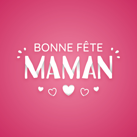 Happy Mothers day card, with hearts, in French.
