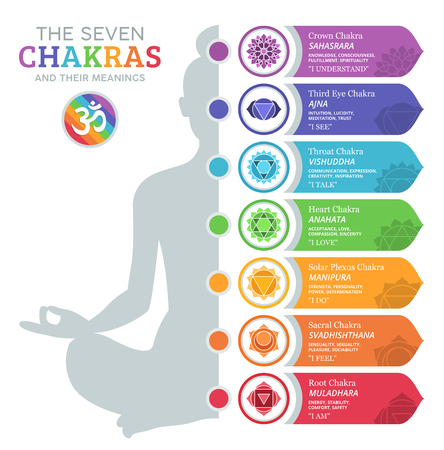 The Seven Chakras and their meanings 免版税图像