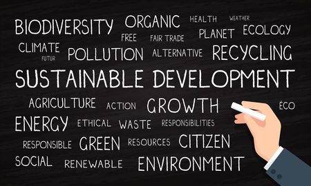 Sustainable development, environment, ecology - cloud word - chalk and blackboard Stock Photo