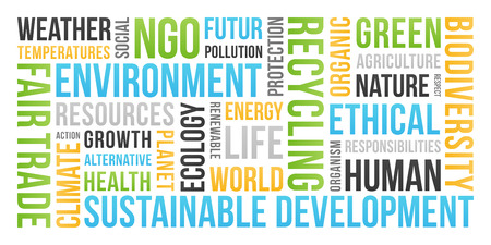 Ecology, Environment, Sustainable Development - Word Cloud Stock Photo