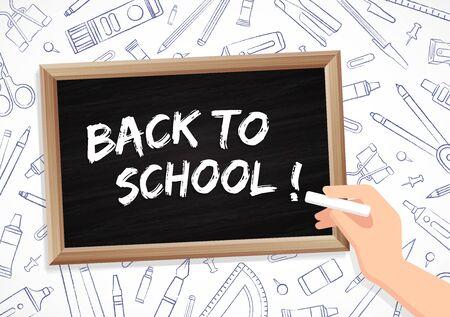 Back to school - blackboard with drawings of office supplies Standard-Bild