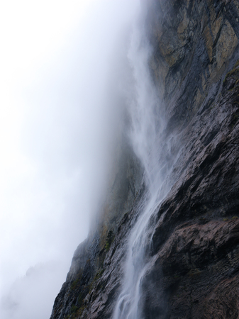 Mighty Lauterbrunnen waterfall in an isolated composition