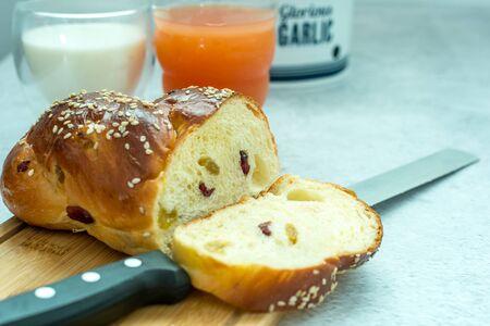 Flat lay, breakfast brunch on table. Archivio Fotografico