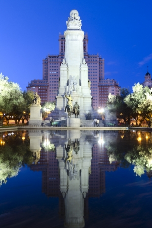atilde: Monument to Cervantes in Madrid Stock Photo