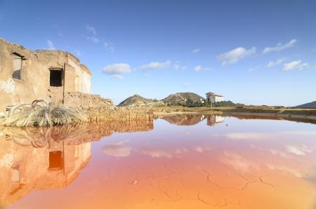 Reflections in an acid lake in Mazarron, Spain photo