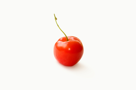 side shot: Beautiful Red Cherry on White background side shot