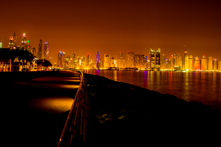 Dubai - April 29, 2017: Dubai Marina skyscraper skyscrapers twilight night blue hour city UAE