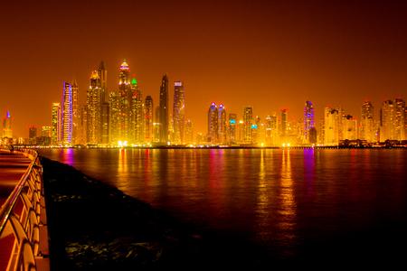Dubai - April 29, 2017: View on night highlighted luxury Dubai Marina,Dubai,United Arab Emirates Editorial