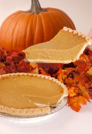 pumpkin pie: Autumn Dessert Slice Stock Photo
