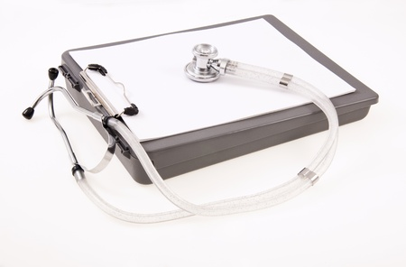 Blank Clip Board Paper and Stethoscope Stock Photo - 11464166