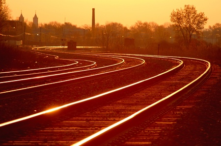 Sunrise on Detroit Railroad Track Curve