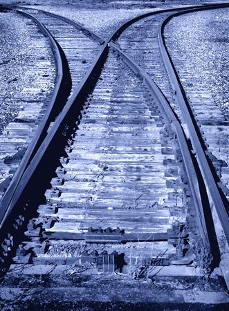 railway transportation: Railroad Track Switch in Yard Blue