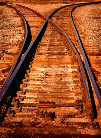 railway transportation: Railroad Track Switch in Yard at Dawn