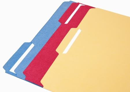 Multi color file folders for topic documents photo