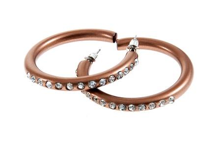 ear rings: Set of peirced ear rings hoop style Stock Photo
