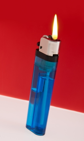 Blue Lighter with Flame