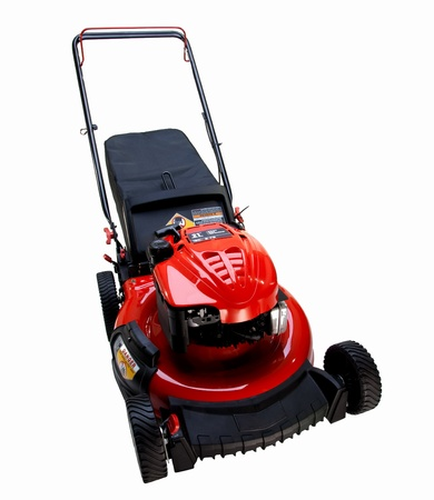 mower: Lawn mower on white background Stock Photo