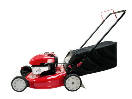 lawn mower: Lawn mower on white background Stock Photo