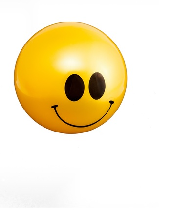 face to face: Happy smiley face ball for good news
