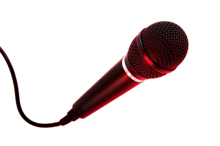 kareoke: Red Stage lights on singer microphone Stock Photo