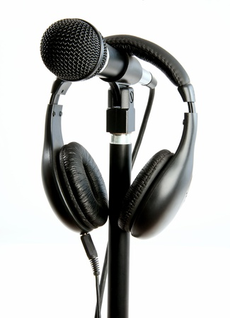 Stage Mic on stand for singer with headset Stock Photo