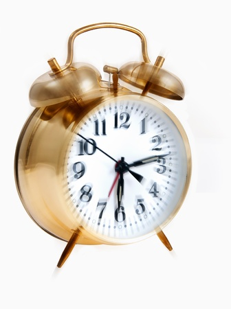 windup: Wind-up alarm clock with bells going off Stock Photo