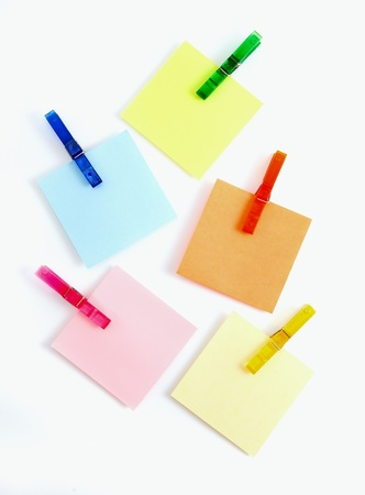 fridge: Color note papers for reminder with clip Stock Photo