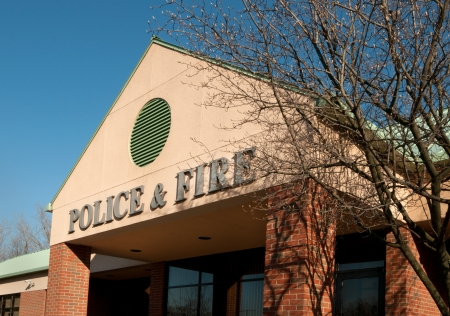 Town municipal building housing police and fire depts Stock Photo