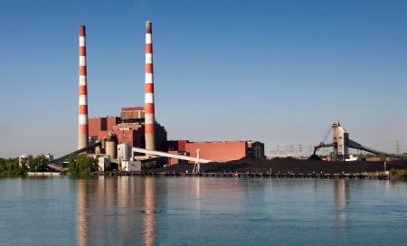 coal fired: Coal fired power plant on Detroit River