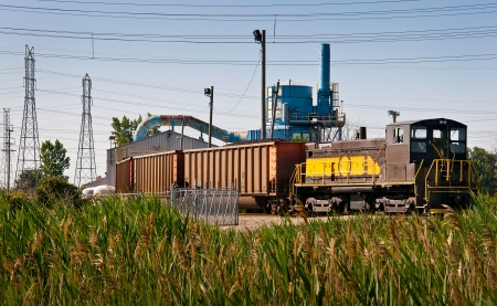 unloading: Coal train power plant unloading shed Stock Photo