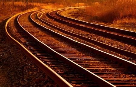railway transportation: Mainline railroad curve at dawn detroit