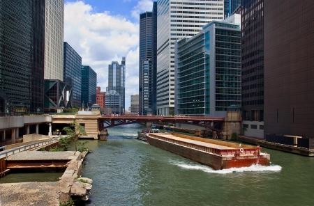 Barge on Chicago Canal photo