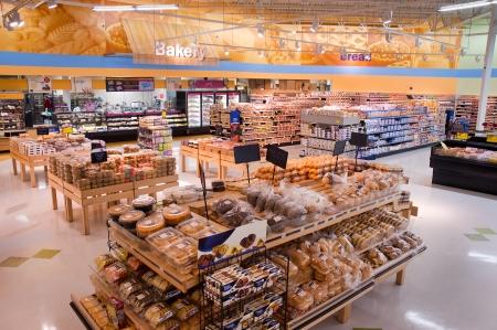 bakery store: Grocery Display Racks Editorial