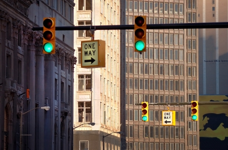 Traffic Lights Downtown Detroit
