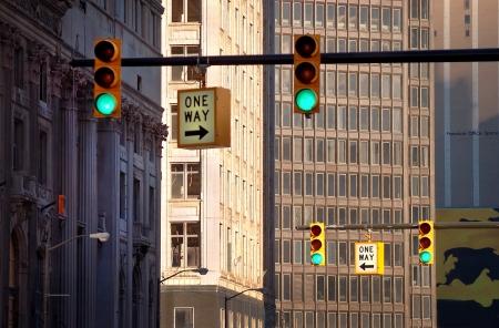 Traffic Lights Downtown Detroit