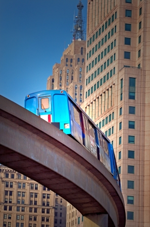 Commuter Train Downtown Detroit