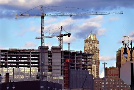 jobsite: Highrise Construction Cranes Detroit