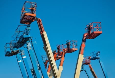 Man Lift Crane Booms Stock Photo