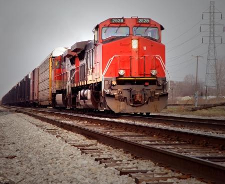 mainline: Red Locomotive on Mainline