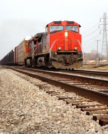 メインラインに赤い機関車