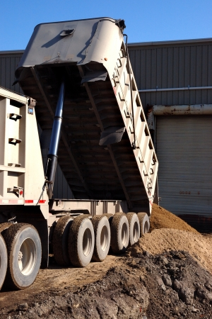 18 wheeler: Dump Truck at Construction Site